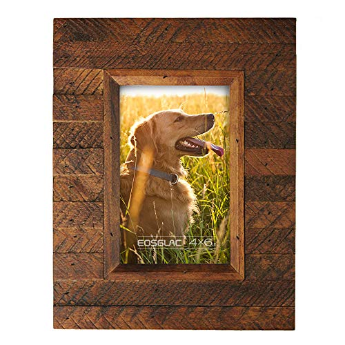 Eosglac Wooden Picture Frame 4x6 inch, Wood Plank Design with Rustic Brown Finish, Wall Mounting or Tabletop Display, Handcrafted Photo Frame (4x6, Brown)