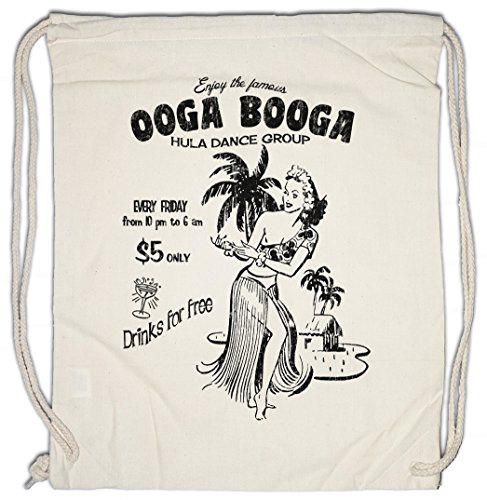 (OOGA BOOGA HULA GIRL Drawstring Bag Gym Sack Aloha Island Tiki Strand Restaurant Caribbean Karibik Insel Blumen Flowers Beach Bar Dance Group Rockabilly Psychobilly Tattoo Flash Jerry)