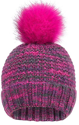 EPGU Women's Heathered Cable Knit Pom Pom Beanie Hat With Sherpa Lined, Mix Rose