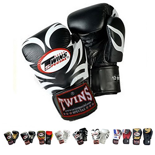 Twins Special Gloves Velcro Fancy FBGV Size 8, 10, 12, 14, 16 oz Color Black Gold Silver Dragon, Fire Flame, Tattoo used for Training and Sparring Muay Thai, Boxing, Kickboxing, - Shipping Cost Internationally