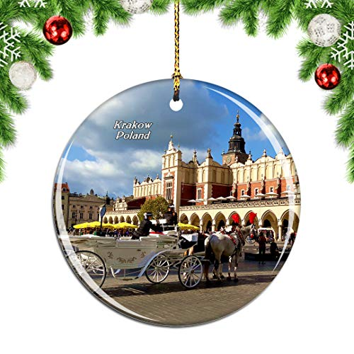 Weekino Poland Krakow's Rynek Glowny Central Square Christmas Xmas Tree Ornament Decoration Hanging Pendant Decor City Travel Souvenir Collection Double Sided Porcelain 2.85 Inch (Krakow Christmas)