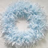 Fluffy XL LIGHT BLUE FEATHER WREATH…Gorgeous Chandelle Accent Wreath!