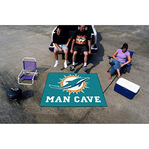 - 5'x6' NFL Dolphins Mat Sports Football Area Rug Team Logo Printed Large Mat Floor Carpet Bedroom Living Room Tailgate Man Cave Home Decor Athletic Game Fans Gift Non-Skid Backing Soft Nylon, Blue