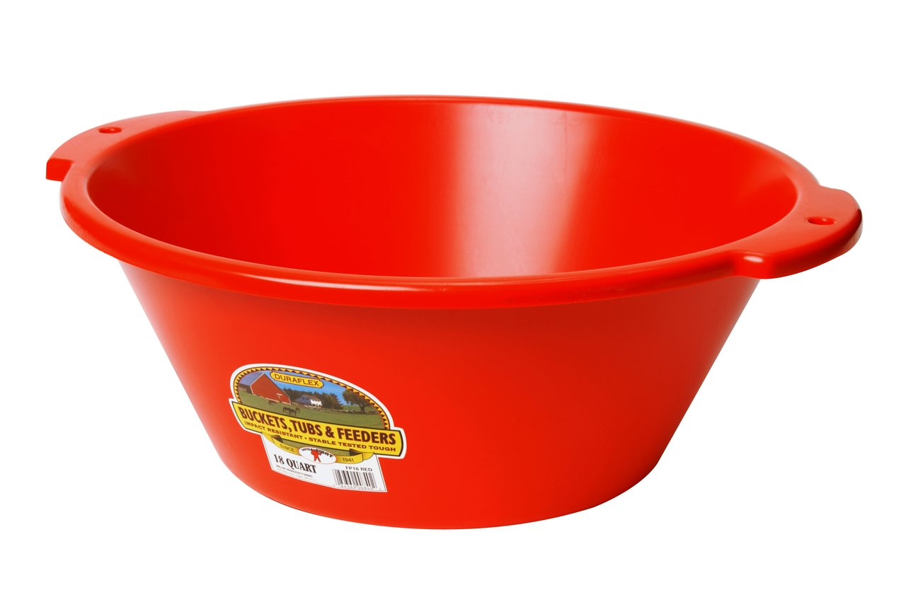 LITTLE GIANT FP18RED Dura-Flex Plastic Feed Pan, 18-Quart, Red
