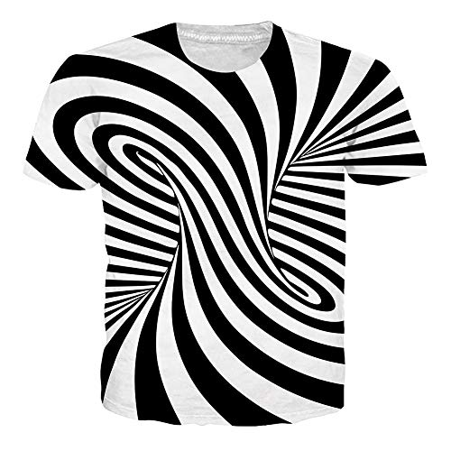 Men's Short Sleeve T-Shirts Funny Pattern Black and White Swirl Print Casual Graphic Tees Cute Summer Tops Clothing