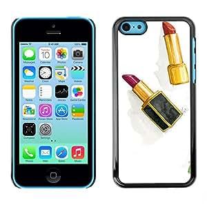 FECELL CITY // Duro Aluminio Pegatina PC Caso decorativo Funda Carcasa de Protección para Apple Iphone 5C // Lipstick Gold Red Watercolor Clean White