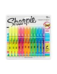 Sharpie Pocket Highlighters, Chisel Tip, Assorted Colors, 12-...