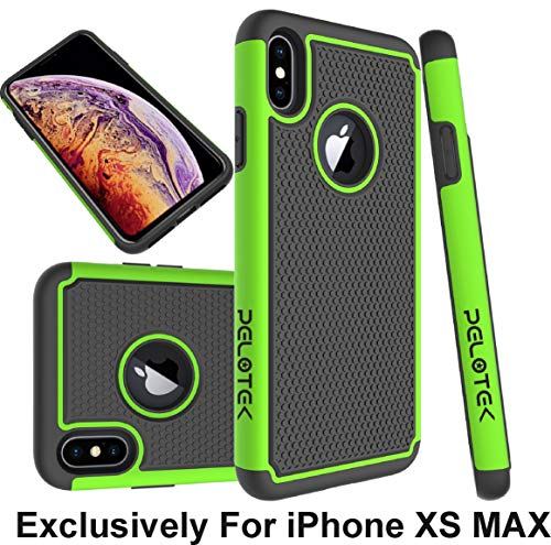- Pelotek; iPhone Xs Max case, iPhone Xs Max Green Phone Case | Tough Armor Triple Layer Attractive Design Case | High Impact Drop Protective Hybrid [Green/Black] Shockproof Features Luxury (Green