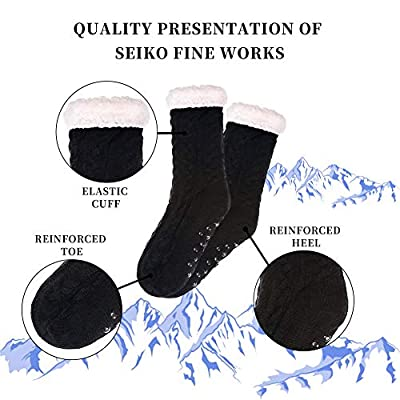 SDBING Women's Winter Super Soft Warm Cozy Fuzzy Fleece-lined Christmas Gift With Grippers Slipper Socks (Black) at Women's Clothing store