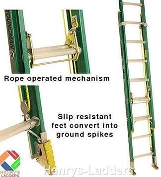 Henry de Lyte – Mesa de GRP comercio extensión escaleras escaleras de extensión. No conductor a 30.000 Voltios. Cuerda funciona con fibra de vidrio escalera extensible. gflt230 – Extended 5.09 M.: Amazon.es: