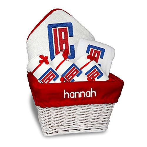 Personalized Los Angeles Clippers Medium Baby Gift Basket (Officially Licensed) Includes 3 Burp Cloths, 1 Bib, 1 Hooded Towel and 1 Wash Mitt ()