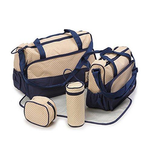 Bolsa de Pañales de 5piezas para madres,–Bolsa de Pañales Bebé almohadilla de repuesto–Large Tote–Medium Tote–Bolsa de Botella caqui azul marino