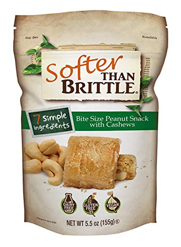 Softer Than Brittle Bite Size Peanut Snack with Cashews 5.5 oz (ounce) (Best Soft Peanut Brittle)