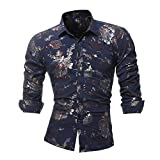 Faionny Clearance Sale Personality Men Casual Slim Tops Printed Lapel Shirt Autumn Long Sleeve Blouse