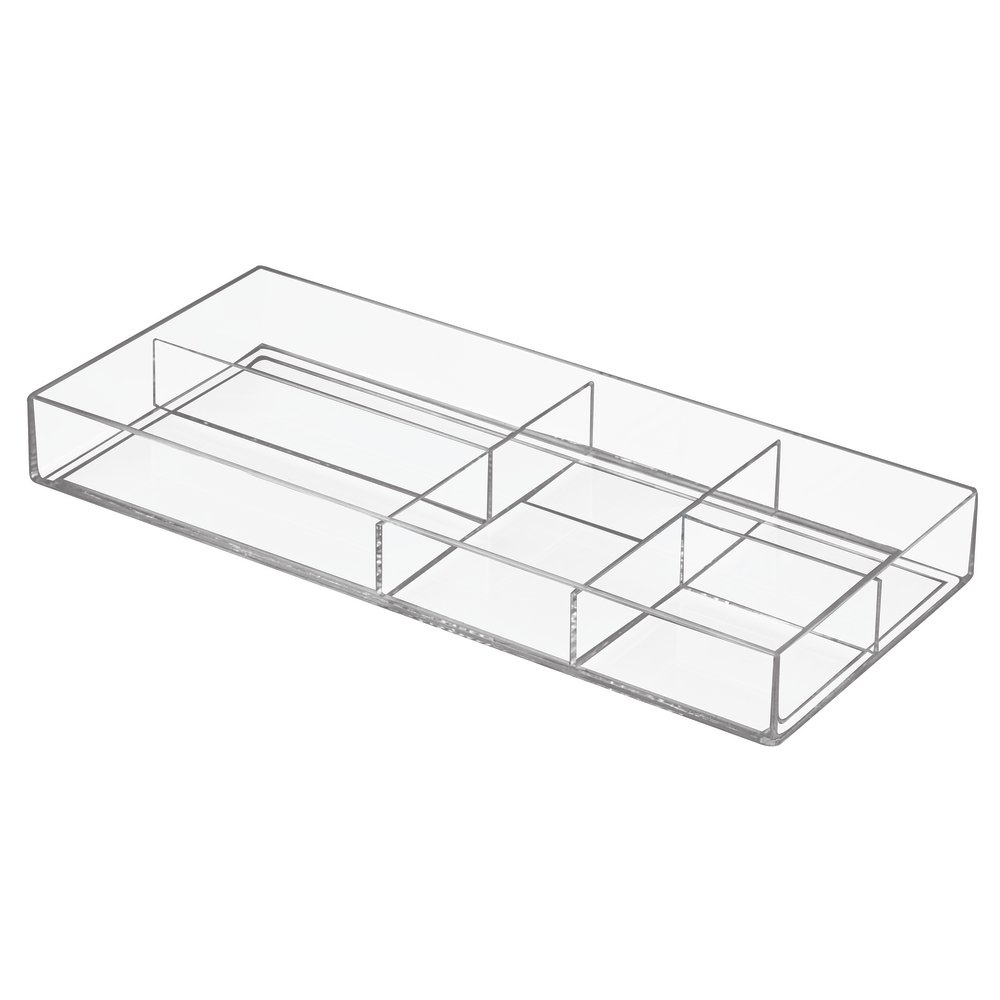 InterDesign Luci Drawer Organiser, Plastic Bathroom Organiser with Five Compartments for Cosmetics Storage, Clear 19950EU