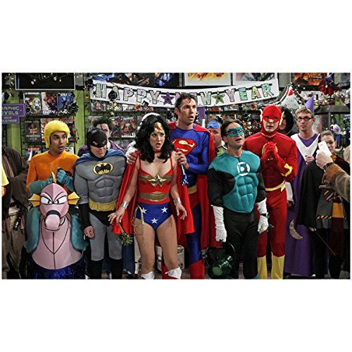Koothrappali Costume (Cast of The Big Bang Theory 8 x 10 Cast Photo Kaley Cuoco-Sweeting/Penny, Kunal Nayar/Raj Koothrappali, Johnny Galecki/Leonard Hofstadter, Simon Helberg/Howard Wolowitz, Jim Parsons/Sheldon Cooper Justice League Costumes in Comic Book Store Pose 2 kn)