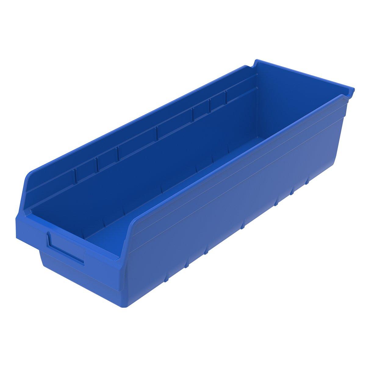 Akro-Mils 30084BLUE ShelfMax Plastic Nesting Shelf Bin Box, 23-5/8-Inch L x 8-3/8-Inch W x 6-Inch H,  Blue,  6-Pack