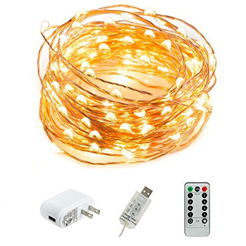 HSicily LED USB String Lights 8 Modes 33Ft 100 LEDs Starry Fairy Lights Plug in Remote Control with Timer for Wedding Christmas Party Bedroom Indoor Outdoor Decorative (Warm White)