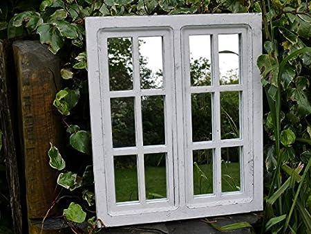 Blanco Panel de ventana Jardín espejo Shabby Chic Patio Casa de madera colgante de pared decoración interior y exterior para: Amazon.es: Hogar