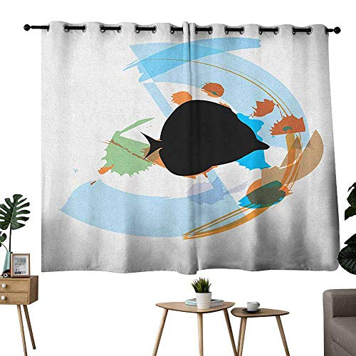 Polished Nickel Discus - Mannwarehouse Fish Noise Reduction Curtain Silhouette of a Discus Cichlid in a Partly Illustrated Bowl Cartoon in Pastel Colors Privacy Protection 55