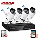 YESKAMO Security Camera System 1080P HD Wireless IP Cameras and 4 Channel NVR Recorder with Motion Activated Mobile App Remote View for Outdoor Waterproof Home Surveillance with 2TB Hard Drive