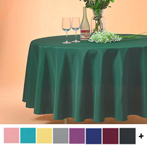 Remedios 120-inch Round Polyester Tablecloth Table Cover - Wedding Restaurant Party Banquet Decoration, Hunter (Hunter Green Round Table Cover)