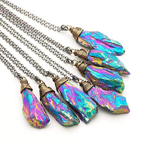 Rainbow Titanium Raw Amethyst Crystal Gemstone Wire-wrapped Bronze Gunmetal Pendant Necklace 18 Inches