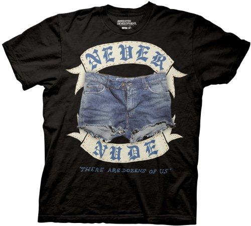 Arrested Development Never Nude Adult Black T-shirt (Adult Medium)
