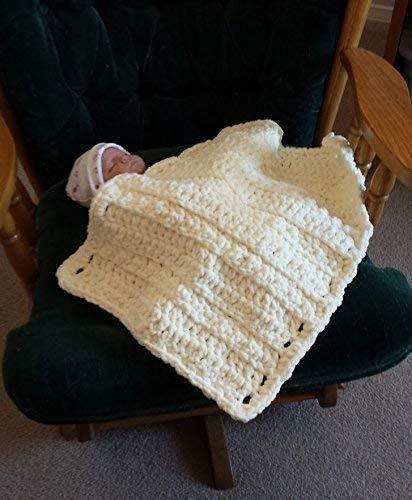 Amazoncom Ivory Crochet Blanket Crochet Baby Blanket Baby