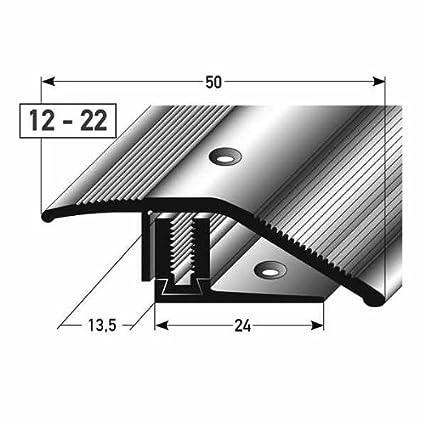 22 mm aluminio anodizado perforado 3-piezas flexible Perfil de desnivel // Perfil de compensaci/ón laminado 50 mm de ancho altura: 12