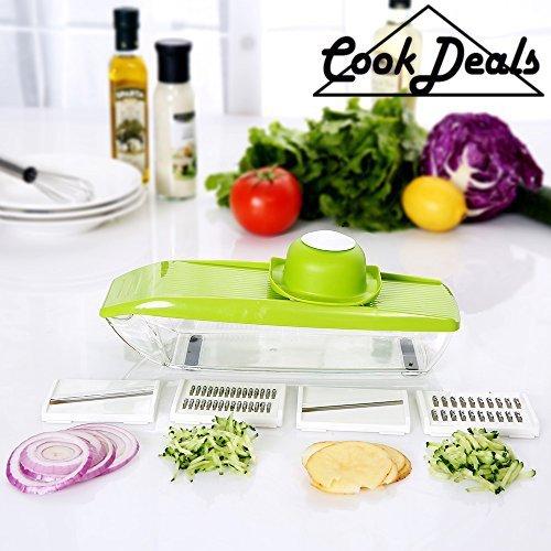 ★Cookdeals★ Mandoline de cuisine professionnelle 5 en 1- Découpe fruits et légumes - Livrée avec ses 5 lames Inox,un poussoir de sécurité et un bac de récupération