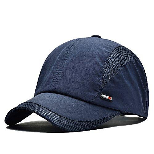 FayTop Unisex Quick Dry Baseball Sun Hat Sun Cap Outdoor Sports Baseball Caps E61B006-blue
