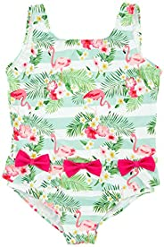 kavkas Baby Girl Swimsuit Cute One Piece Bathing Suit with Sun Protection Ruffles Swimwear, 12M-6T
