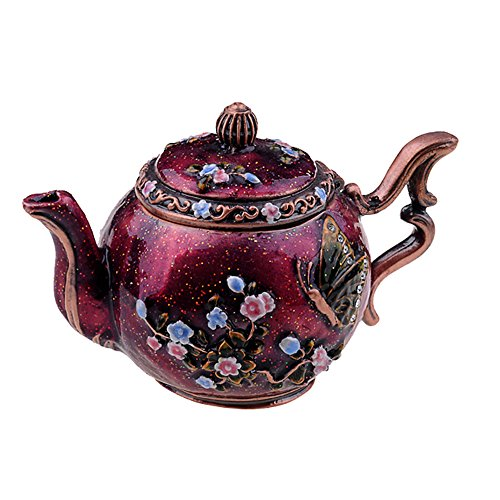 Teapot Crystal Jeweled Trinket Jewelry Ring Box Pewter Collectables Gifts for Her China Crafts