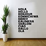 Living Room Decor Vinyl Wall Art Decals - HOLA HELLO BONJOUR CIAO Word Signs - 30'' x 23'' - Office Wall Decor Art - Multi-Language Hello Vinyl Sign for Business and Workspace - Removable Sicker Decals