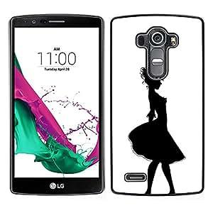 For LG G4 , S-type® Girl Relief Contour Black White - Arte & diseño plástico duro Fundas Cover Cubre Hard Case Cover