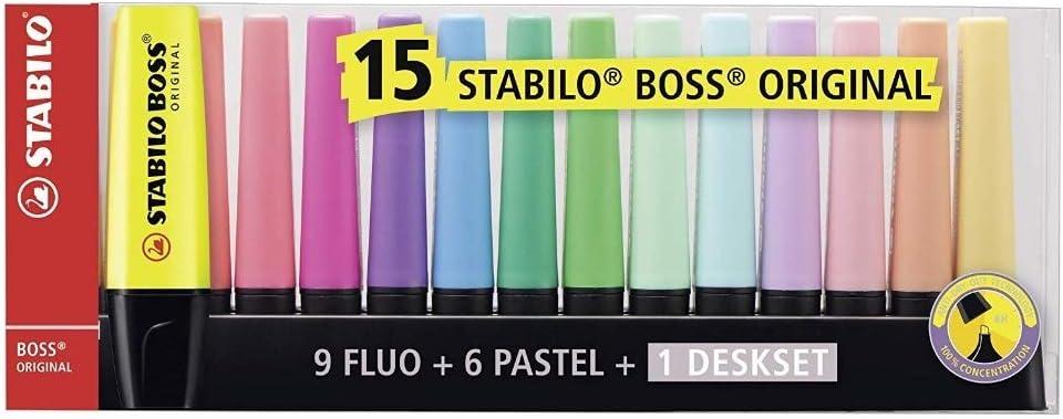 Stabilo Boss Deskset, 15 Unidades: Amazon.es: Oficina y papelería