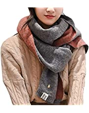 Algerc Women Solid Color Scarves Cashmere Knitted Woolen Thick Soft Warm Scarf