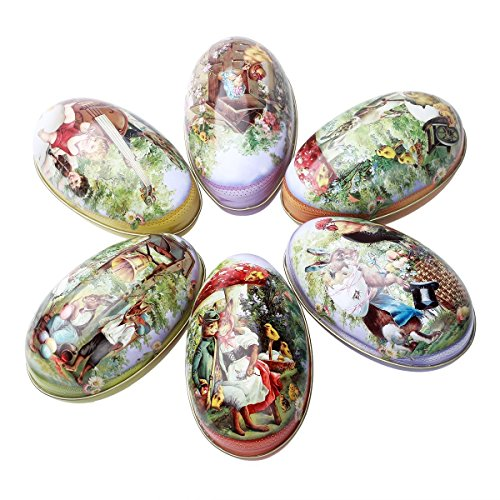 (Easter Eggs Pack of 6 Decor Large Tin Metal Candy Chocolate Boxes Holder Painted Decorative Vintage Bunny Chicken Basket)