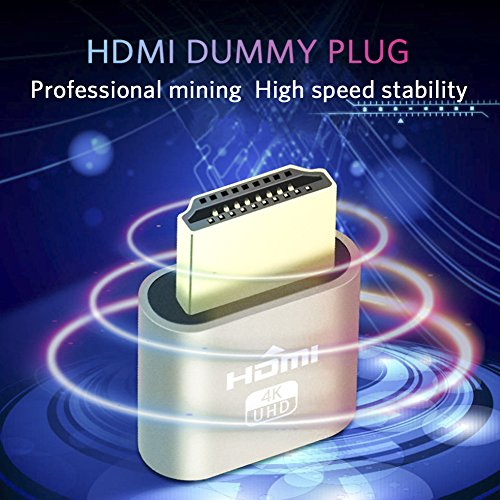 HDMI Dummy Plug, Display Emulator, Headless Ghost,fit Headless dummy display. 4K 1920x1080 - 3840x2160 New generation@60Hz