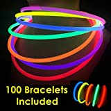 "Toys : Glow Sticks Bulk Wholesale Necklaces, 100 22"" Glow Stick Necklaces+100 FREE Glow Bracelets! Bright Colors Glow 8-12 Hr, Connector Pre-attached(handy), Glow-in-the-dark Party Supplies, GlowWithUs Brand"