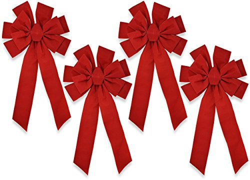 (Gift Boutique Red Velvet Christmas Bows Large 22