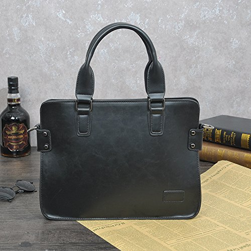De Otomoll Café Crazy Cuero De Maletín Negocios Satchel Bolso Bolso Bag Retro black Horse 4qpEU
