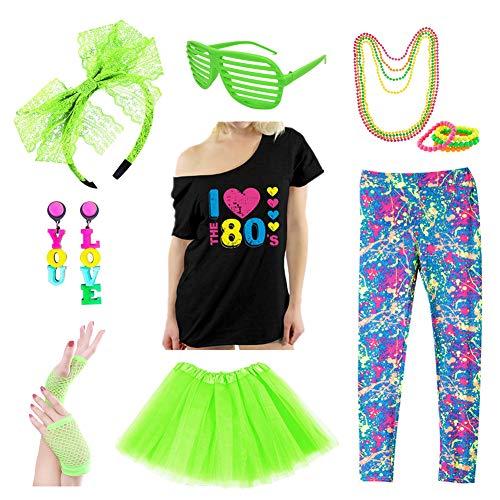 Icevog Womens 80s Costume Set Fancy Disco Party Outfit Printed Leggings Top Tutu Skirt Neon Earrings Necklace Bracelet -