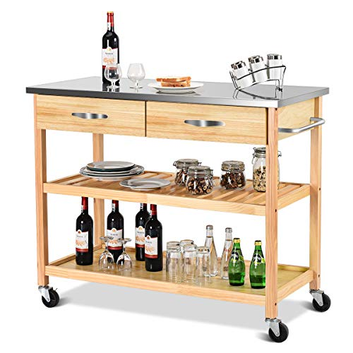 (Giantex Kitchen Trolley Cart Rolling Island Cart Serving Cart Large Storage with Stainless Steel Countertop, Lockable Wheels, 2 Drawers and Shelf Utility Cart for Home and Restaurant Solid Pine Wood)