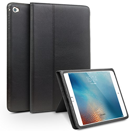 iPad Mini 4 Case, Full Grain Leather Slim Smart Cover (with Folding Stand, Handstrap,and Auto Sleep & Wake up Feature) for Apple iPad Mini4, Black