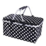 DKISEE Large Size Insulated Picnic Basket 30L folding Cooler Bag Zip Closure Basket with Carrying Handles (Black)