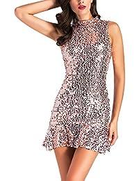 Womens Sexy Deep V Neck Maxi Sequin Halter Backless Split Long Dress