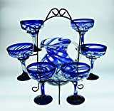 Mexican Margarita Glasses Blue Swirl, Pitcher set with display rack, Hand Blown, set of 6 with pitcher