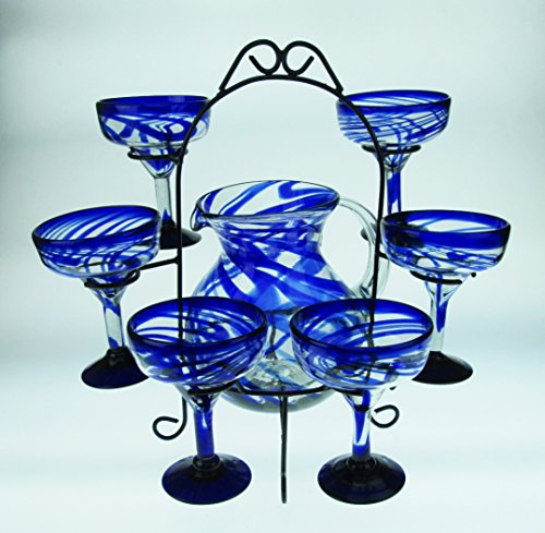 Mexican Margarita Glasses Blue Swirl, Pitcher set with display rack, Hand Blown, set of 6 with pitcher by Mexican Margarita Glasses